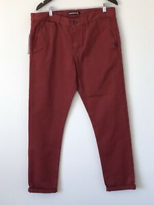 Quiksilver Krandy Mens Jeans Burgundy Size W34 NEW WITH TAGS