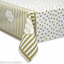 "54""x84"" Gold Golden Style Happy Birthday Party Plastic Table Cover"