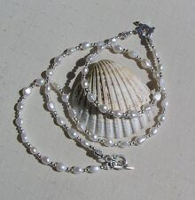"Necklace & Bracelet Set - White Freshwater Pearl and Sterling Silver ""Elegance"""