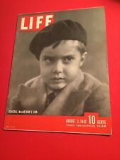 VINTAGE AUGUST 3, 1942 LIFE MAGAZINE FEATURING GENERAL MaCARTHUR'S SON VN COND