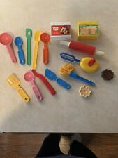 Vintage Fisher Price Play Kitchen Food, Utensils, Spoons, Rolling Pin, Mixer Set