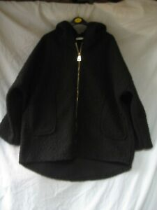 """MADE IN ITALY Black Relaxed Fit Lagenlook Hooded Teddy Bear Coat CH 56"""" L VGC"""