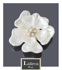 Anstecker Brosche Blume Perlmutt Imität Perlen imität Ansteckecknadeln Ivory Pin