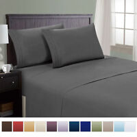 AU 3/4pcs Deep Pocket Bed Sheet Set Flat Fitted Bed Cover King/Queen/Full/Twin