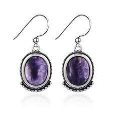 925 Silver Vintage Charoite Oval Gemstone Drop Dangle Hook Earrings Engagement