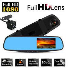 "4.3"" HD 1080P Car DVR Dual Lens Rearview Mirror Dash Cam Recorder + Rear Camera"