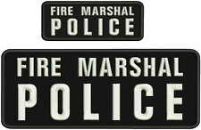 FIRE MARSHAL POLICE embroidery Patches 4x10 and 2x5 hook on back blk/white