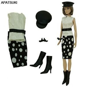 """Polka Fashion Outfits For 11.5"""" Doll Boots Hat Shirt Skirt Toys Clothes Set 1/6"""