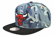 MITCHELL AND NESS BLUE DENIM CAMO SNAPBACK CHICAGO BULLS DERRICK ROSE JORDAN