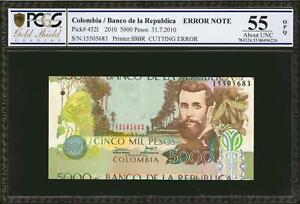 """Colombia 5000 Pesos """"CUTTING ERROR"""" 2010 Pick-452l About UNC PCGS 58 OPQ"""