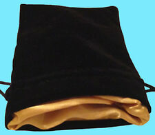 BLACK VELVET w/ LUXURY SATIN GOLD Lining DICE BAG NEW 4x6 Storage Pouch MDG Silk