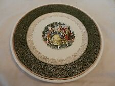 Vintage Colonial Couple Dancing Plate from Royal China Inc. Dark Green
