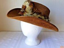 Resistol Ranchman Western Cowboy Hat Corduroy Feather Band 7 1/8 Self Conforming