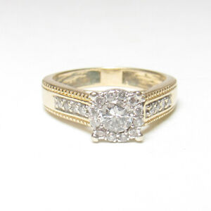 Estate 14K Yellow White Gold 0.20 Ct Brilliant Cut Diamond Halo Ring 0.30 Cts TW