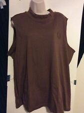 Womens Plus 3X Brown Sleeveless Collared Tank Top, Blair Brand, Wear Under Shirt