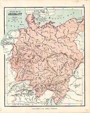 Carta geografica antica GERMANIA GERMANY Hughes 1878 Old map