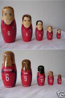 Mia Hamm Brandi Chastain Fawcett Foudy Lilly US Soccer Team nesting doll set (5)