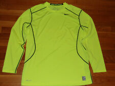 NEW NIKE PRO COMBAT DRI-FIT BRIGHT YELLOW LONG SLEEVE FITTED JERSEY MENS XL