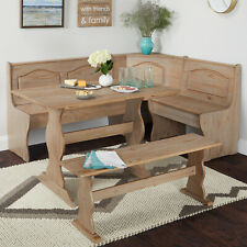 Country Style Rustic Finished Corner Nook Dining Set Table Bench Set Solid Wood