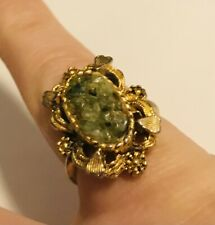 Gold & Green Emeralds Size 8Us/Puk Very Pretty Flower Shapes Victorian Era 18K