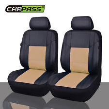 Universal Beige Black pu leather 2 Front Car Seat Covers Protector Fashion Seat