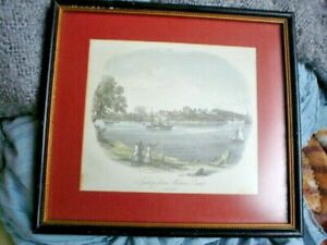 AUSTRALIANA CIRCA 1853 SYDNEY FROM MILSONS POINT  FRAMED PRINT 20 X 18 cm