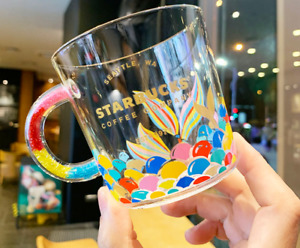New Starbucks Colorful Fishtail Cup Coffee Glass Mug Single Cup Limited Edition