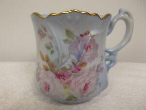 Vintage Nippon Blue Hand Painted Pink Roses Floral Gold Trim Tea Cup Mug