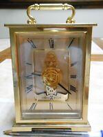VTG Howard Miller Antique Gold Brass Carriage Mantle Clock Skeleton Gears 612808