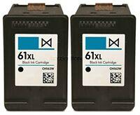 2-pk #61 XL Black Ink Cartridges for HP ENVY 4500 4501 4502 4504 5530 5531 5535