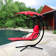Hanging Chaise Lounger Chair Air Porch Floating Swing Hammock Arc Stand Canopy