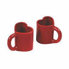 Set Of Two Red Heart Mugs Tea Coffee Mug