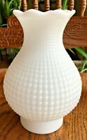 "VTG WAFFLE HOBNAIL MILK GLASS THICK OIL HURRICANE LAMP CHIMNEY SHADE 7"" x 3"""
