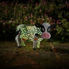 Cute Daisy Cow Silhouette Solar Powered Light Up Colour Changing Garden Ornament