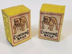 "2 Boxes ""BULLDOG"" Extra Iron Clinching Nails 6/8 1/4lb NOS"