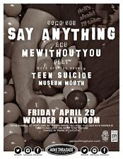 SAY ANYTHING / MEWITHOUTYOU / TEEN SUICIDE 2016 PHOENIX CONCERT TOUR POSTER-Emo