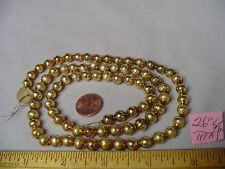 "Christmas Garland Mercury Glass Antique Gold 26"" Long 5/16"" Beads #119A Vintage"