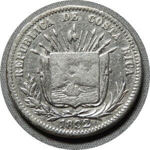 elf Costa Rica 25 Centavos 1892 Silver        92A