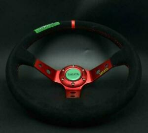 Universal Steering Wheel 350 mm SUEDE DEEP DISH High Quality RED for MO ND
