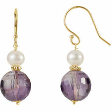 14K Yellow Gold Genuine Amethyst and Freshwater Cultured Pearl Dangle Earrings