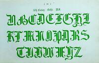 1865 Ornamental Alfabeto Estampado ~ 16th Siglo Gótico Manuscrito