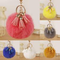 Women Girls Faux Fur Pompom Ball Tassel Keyrings Car Keys Chains Charm Pendant