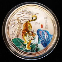 2010 Year of the Tiger Chinese Lunar Zodiac Colored Silver Coin 60mm