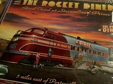 Open Road Brand 4 Nostalgic Diner Placemats Vintage Airplane Train Zeppelin NIP