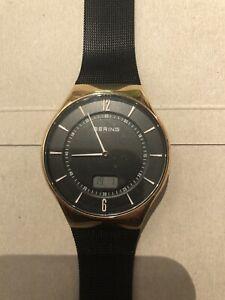 Bering 51640-166 Funkuhr Uhr Herren Schwarz Gold Wie Neu