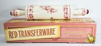 New Vintage Cracker Barrel Red Transferware French Toile Ceramic Rolling Pin