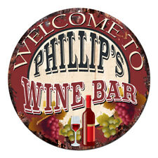 Cmwb-0087 Welcome to Phillip'S Wine Bar Chic Tin Sign Man Cave Decor Gift