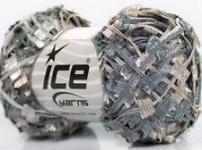 Metallic Butterfly Glitz #45266 Ice Silver Beige Grey Sparkly Flag Yarn 50gram