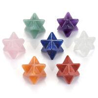 Natural Gemstone Chakra Crystal Healing Merkaba Star Pendant Necklace Jewelry
