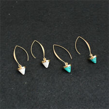 Fashion women inlaid with gold turquoise natural stone earrings hoop hanging